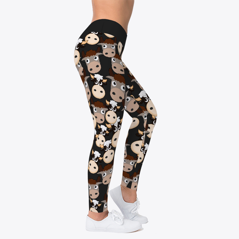 Custom Cool Cow Pattern All About Cow Leggings Workout Leggings