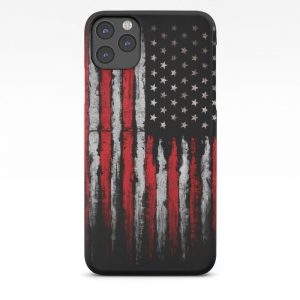 Custom Red & white Grunge American flag iPhone Case
