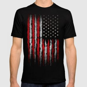 Custom Red & white Grunge American flag T-shirt