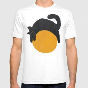 custom cat with ball t-shirt